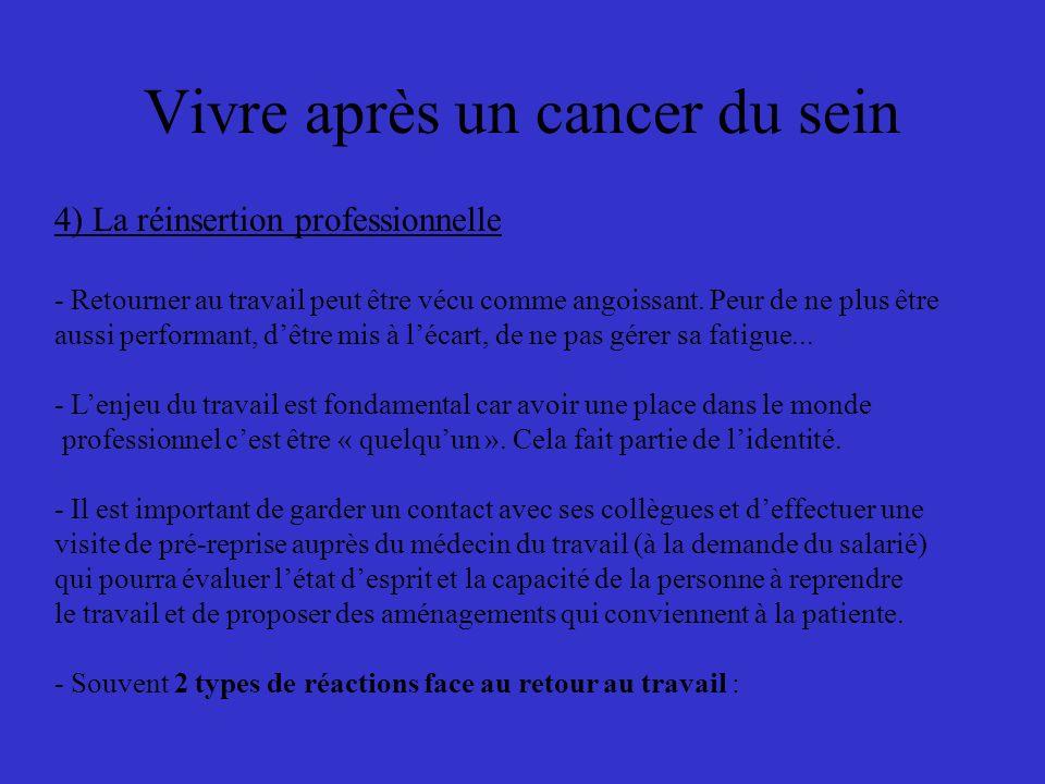 Vivre après un cancer du sein 4) La réinsertion professionnelle - Retourner au travail peut être vécu comme angoissant.