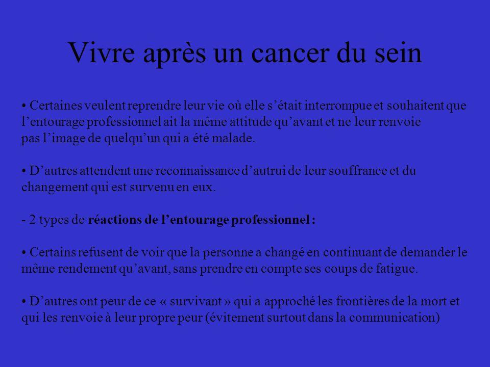 Vivre après un cancer du sein Certaines veulent reprendre leur vie où elle sétait interrompue et souhaitent que lentourage professionnel ait la même a