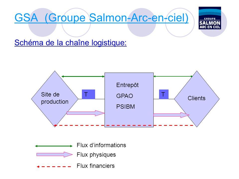 GSA (Groupe Salmon-Arc-en-ciel) Schéma de la chaîne logistique: Site de production Entrepôt GPAO PSIBM Clients TT Flux dinformations Flux physiques Flux financiers