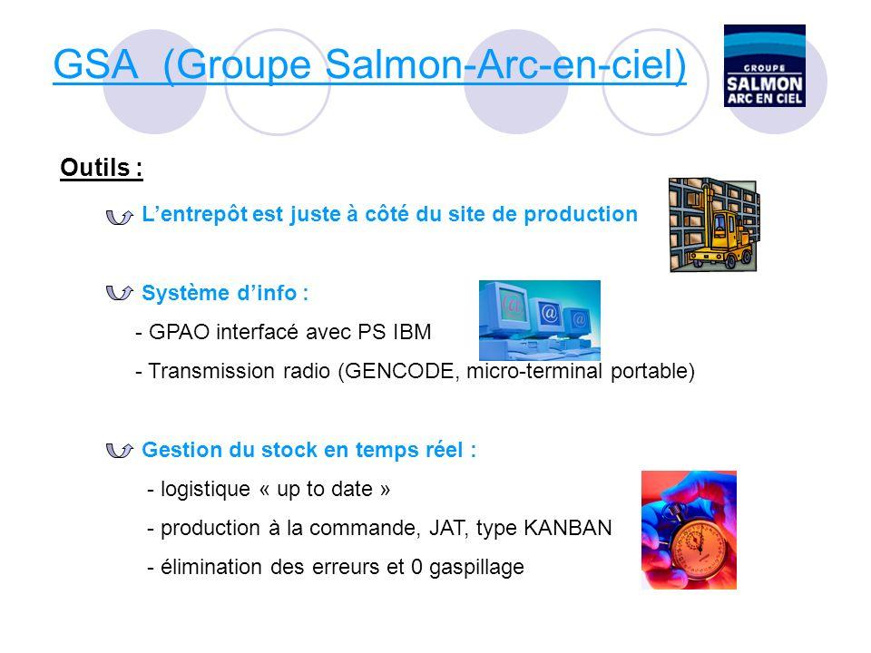 GSA (Groupe Salmon-Arc-en-ciel) Outils : Lentrepôt est juste à côté du site de production Système dinfo : - GPAO interfacé avec PS IBM - Transmission radio (GENCODE, micro-terminal portable) Gestion du stock en temps réel : - logistique « up to date » - production à la commande, JAT, type KANBAN - élimination des erreurs et 0 gaspillage