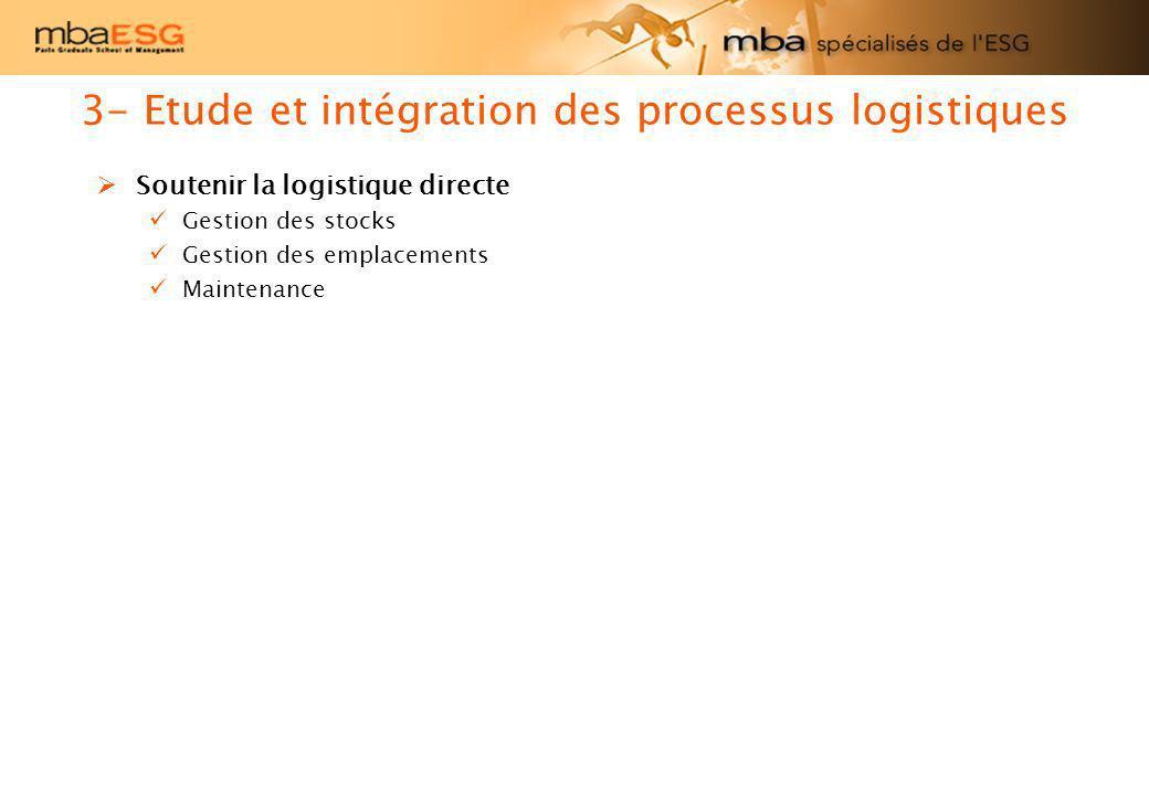 Soutenir la logistique directe Gestion des stocks Gestion des emplacements Maintenance 3- Etude et intégration des processus logistiques