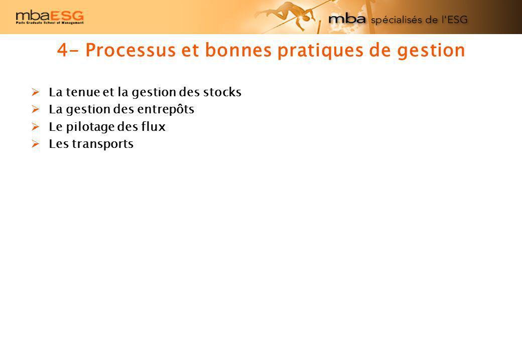 4- Processus et bonnes pratiques de gestion La tenue et la gestion des stocks La gestion des entrepôts Le pilotage des flux Les transports