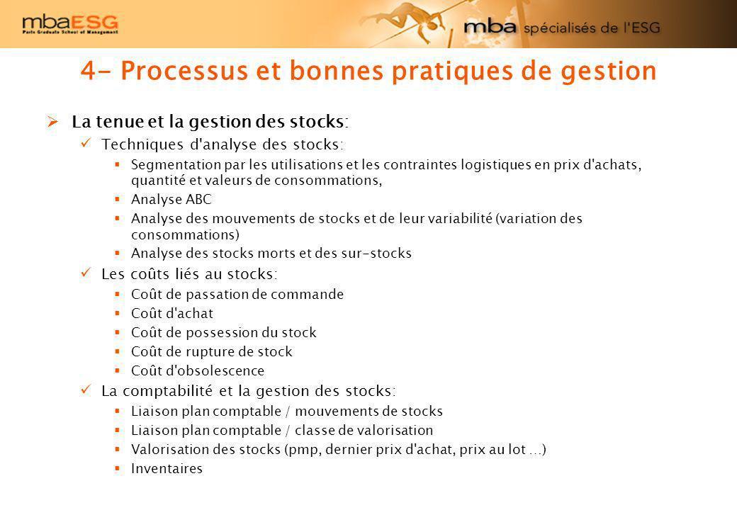 4- Processus et bonnes pratiques de gestion La tenue et la gestion des stocks: Techniques d'analyse des stocks: Segmentation par les utilisations et l