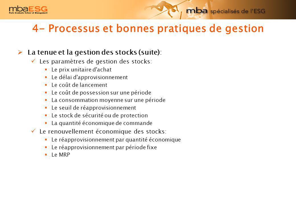 4- Processus et bonnes pratiques de gestion La tenue et la gestion des stocks (suite): Les paramètres de gestion des stocks: Le prix unitaire d'achat