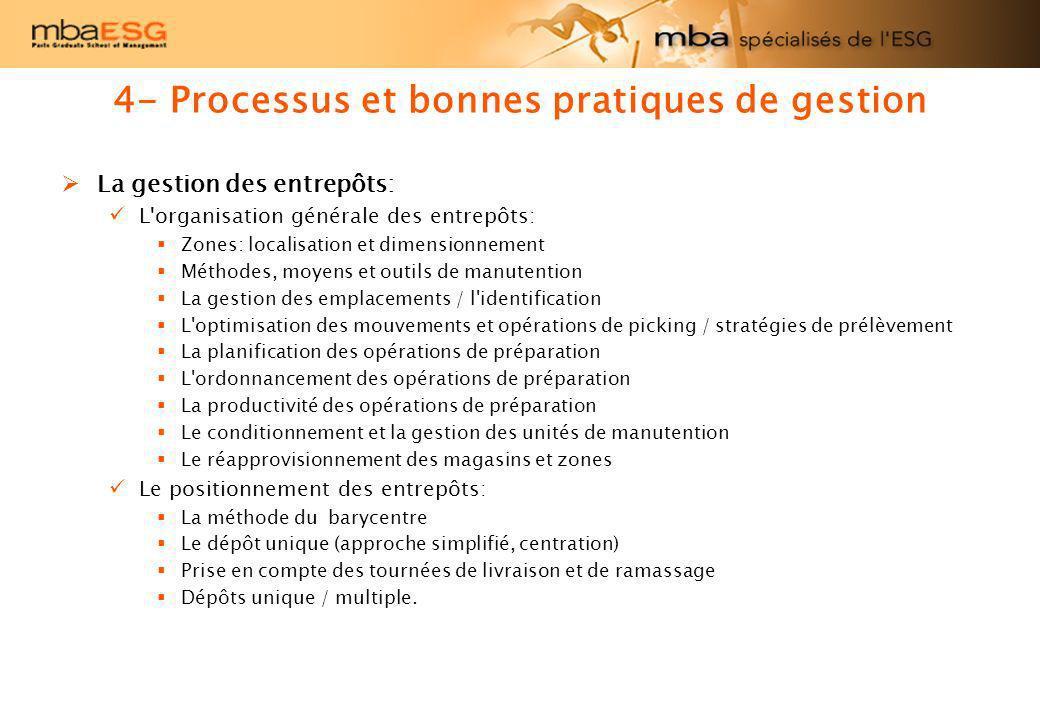 4- Processus et bonnes pratiques de gestion La gestion des entrepôts: L'organisation générale des entrepôts: Zones: localisation et dimensionnement Mé