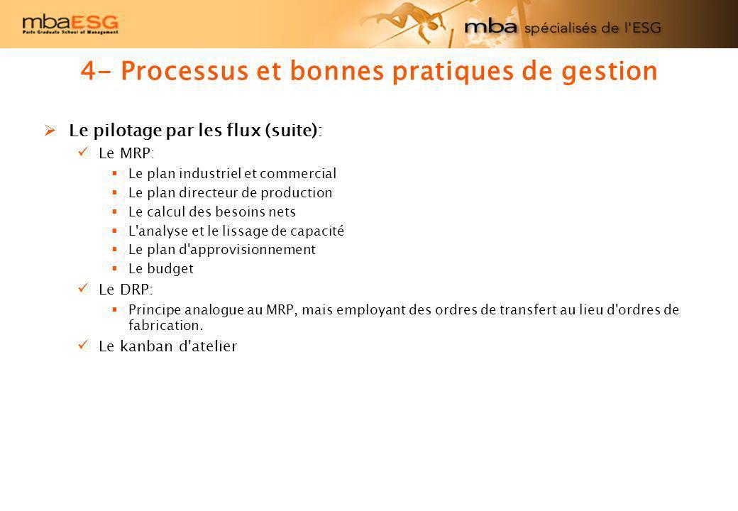 Le pilotage par les flux (suite): Le MRP: Le plan industriel et commercial Le plan directeur de production Le calcul des besoins nets L'analyse et le