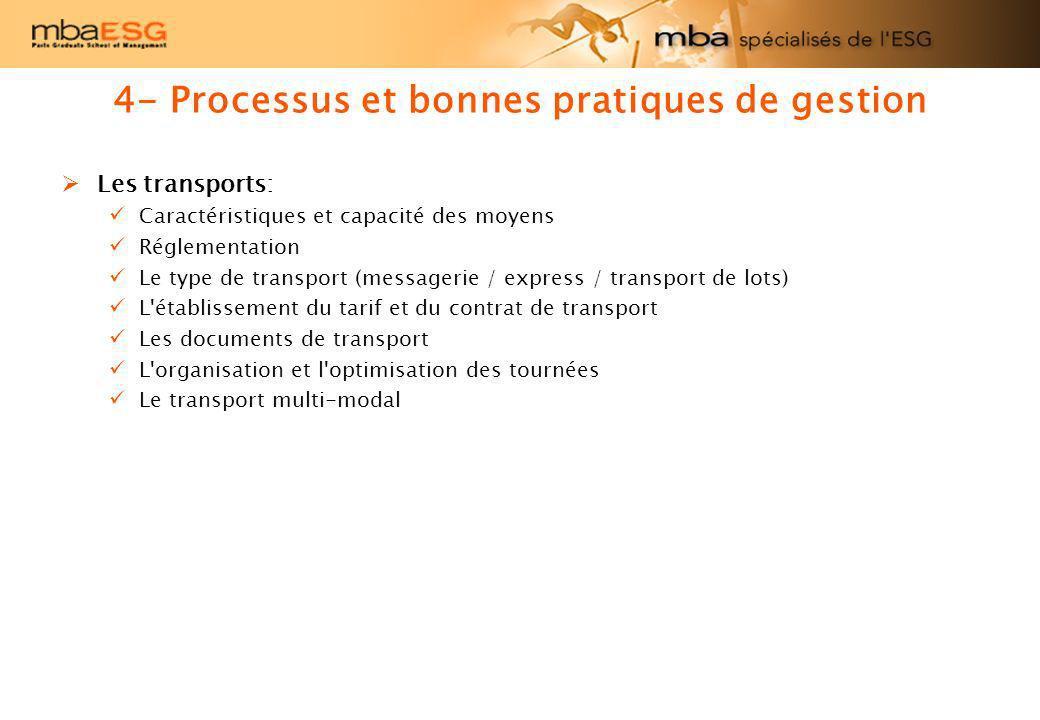 4- Processus et bonnes pratiques de gestion Les transports: Caractéristiques et capacité des moyens Réglementation Le type de transport (messagerie /