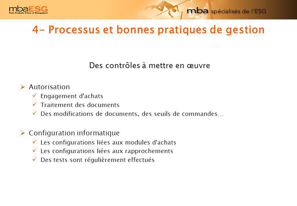 Des contrôles à mettre en œuvre Autorisation Engagement d'achats Traitement des documents Des modifications de documents, des seuils de commandes… Con