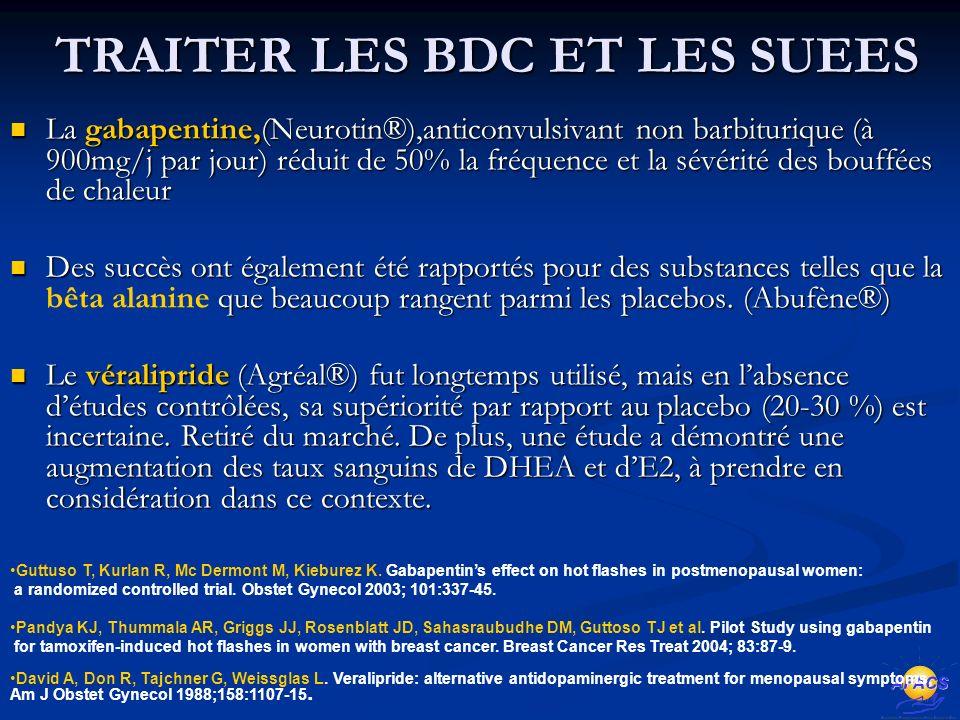 TRAITER LES BDC ET LES SUEES La gabapentine,(Neurotin®),anticonvulsivant non barbiturique (à 900mg/j par jour) réduit de 50% la fréquence et la sévérité des bouffées de chaleur La gabapentine,(Neurotin®),anticonvulsivant non barbiturique (à 900mg/j par jour) réduit de 50% la fréquence et la sévérité des bouffées de chaleur Des succès ont également été rapportés pour des substances telles que la que beaucoup rangent parmi les placebos.