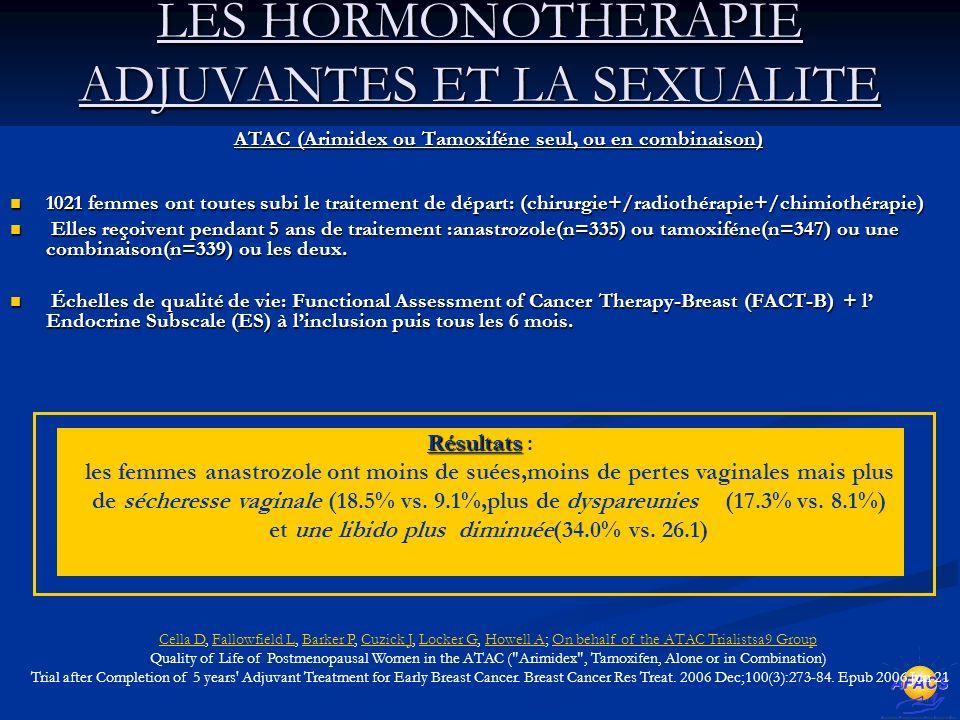 LES HORMONOTHERAPIE ADJUVANTES ET LA SEXUALITE ATAC (Arimidex ou Tamoxiféne seul, ou en combinaison) ATAC (Arimidex ou Tamoxiféne seul, ou en combinaison) 1021 femmes ont toutes subi le traitement de départ: (chirurgie+/radiothérapie+/chimiothérapie) 1021 femmes ont toutes subi le traitement de départ: (chirurgie+/radiothérapie+/chimiothérapie) Elles reçoivent pendant 5 ans de traitement :anastrozole(n=335) ou tamoxiféne(n=347) ou une combinaison(n=339) ou les deux.