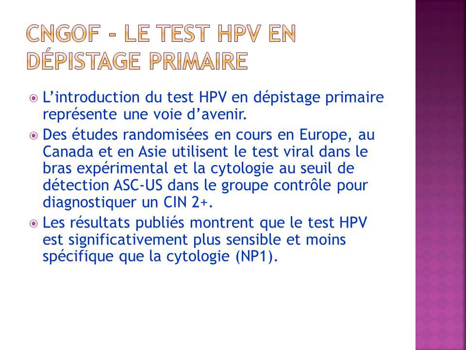 Lintroduction du test HPV en dépistage primaire représente une voie davenir. Des études randomisées en cours en Europe, au Canada et en Asie utilisent