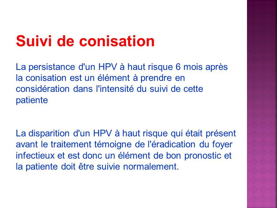 Suivi de conisation La persistance d'un HPV à haut risque 6 mois après la conisation est un élément à prendre en considération dans l'intensité du sui