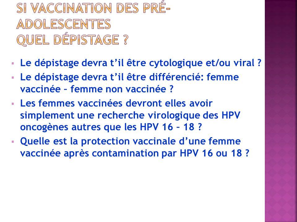 Le dépistage devra til être cytologique et/ou viral ? Le dépistage devra til être différencié: femme vaccinée – femme non vaccinée ? Les femmes vaccin