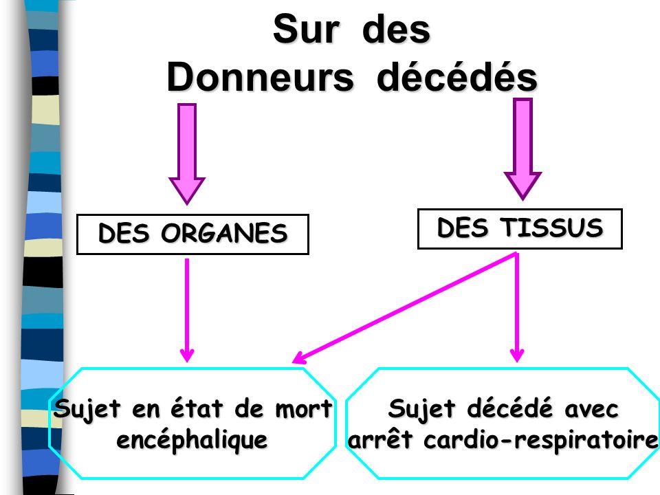 Sur des Donneurs décédés DES ORGANES DES TISSUS Sujet en état de mort encéphalique Sujet décédé avec arrêt cardio-respiratoire