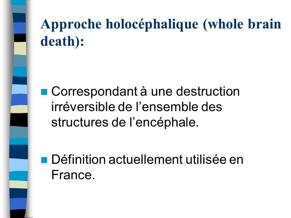 Approche holocéphalique (whole brain death): Correspondant à une destruction irréversible de lensemble des structures de lencéphale. Définition actuel
