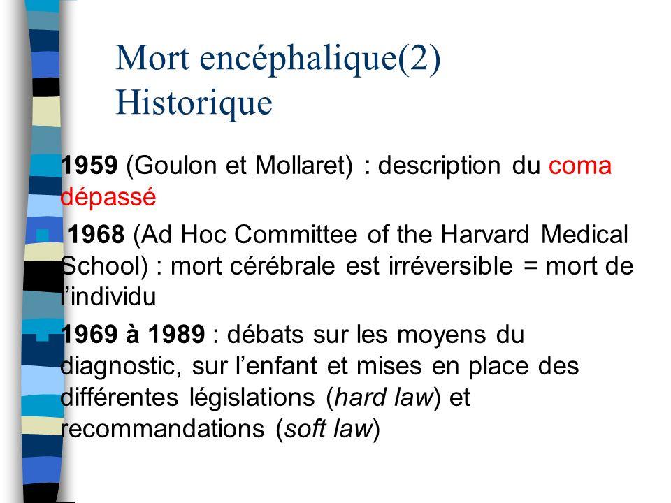 Mort encéphalique(2) Historique 1959 (Goulon et Mollaret) : description du coma dépassé 1968 (Ad Hoc Committee of the Harvard Medical School) : mort c