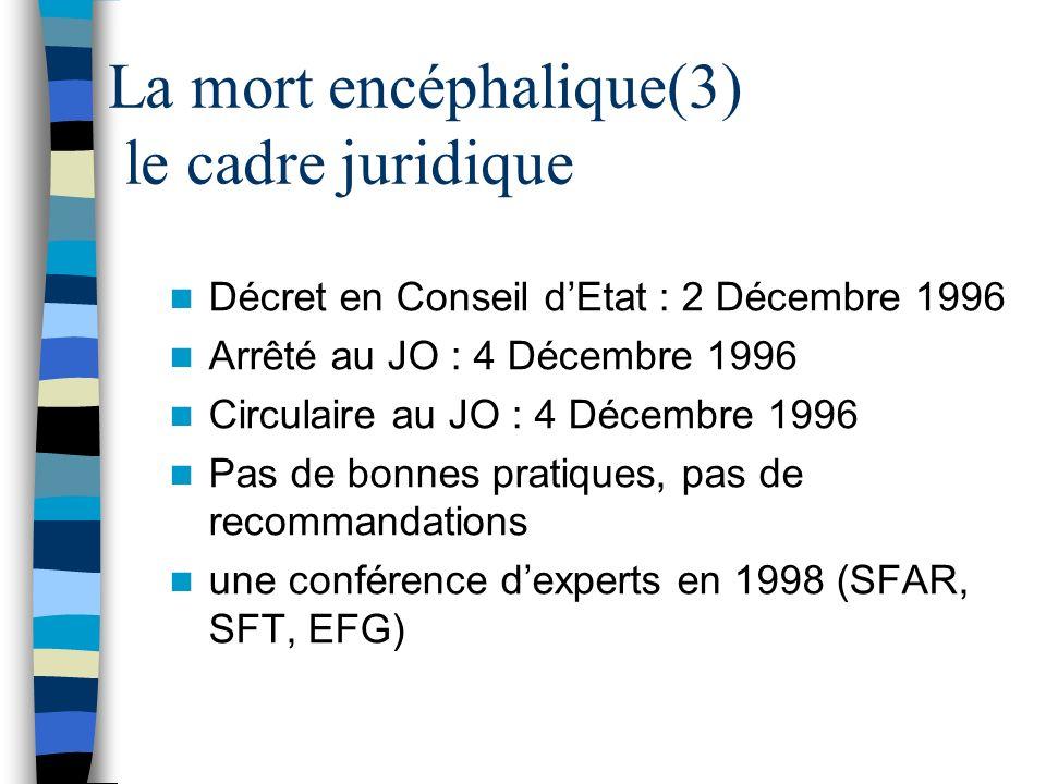 La mort encéphalique(3) le cadre juridique Décret en Conseil dEtat : 2 Décembre 1996 Arrêté au JO : 4 Décembre 1996 Circulaire au JO : 4 Décembre 1996