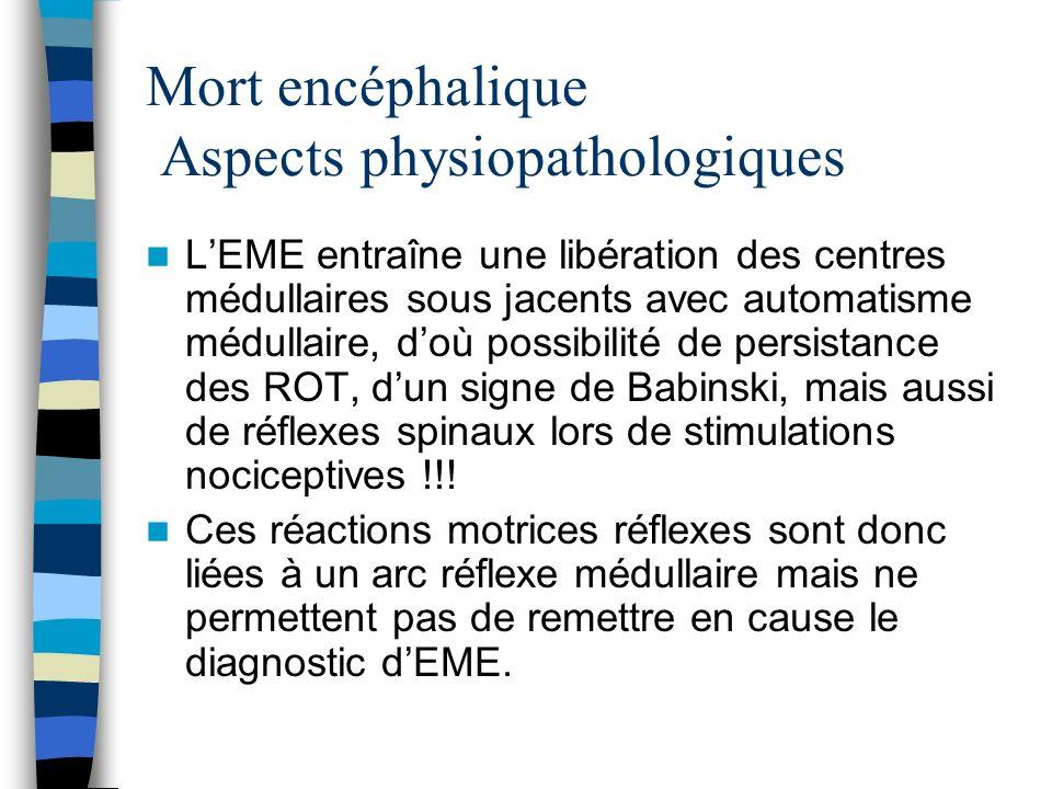 Mort encéphalique Aspects physiopathologiques LEME entraîne une libération des centres médullaires sous jacents avec automatisme médullaire, doù possi