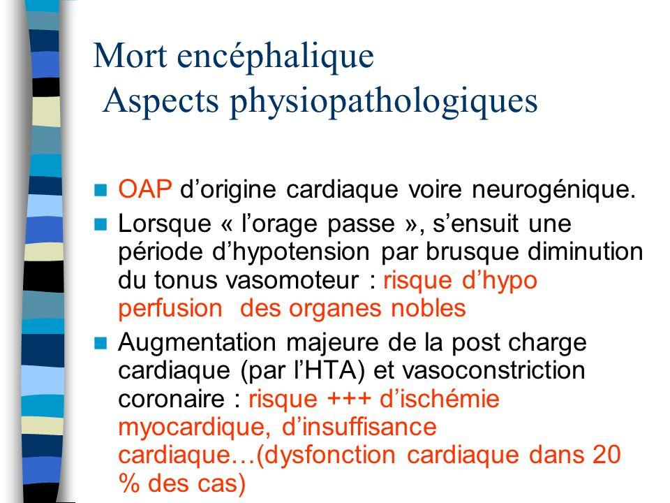 Mort encéphalique Aspects physiopathologiques OAP dorigine cardiaque voire neurogénique. Lorsque « lorage passe », sensuit une période dhypotension pa
