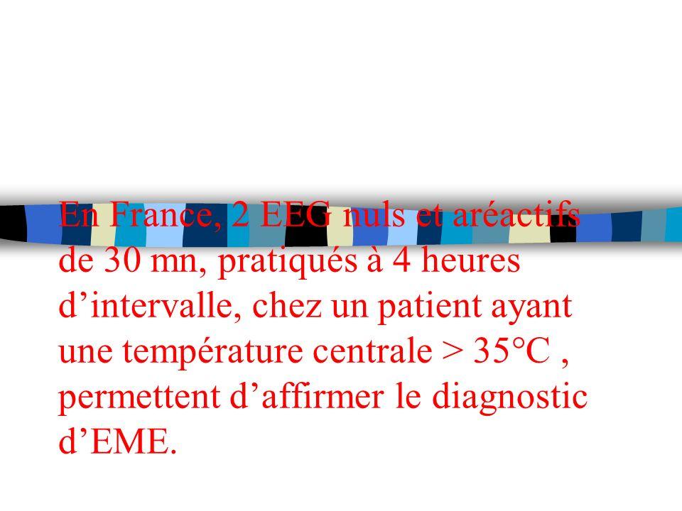En France, 2 EEG nuls et aréactifs de 30 mn, pratiqués à 4 heures dintervalle, chez un patient ayant une température centrale > 35°C, permettent daffi