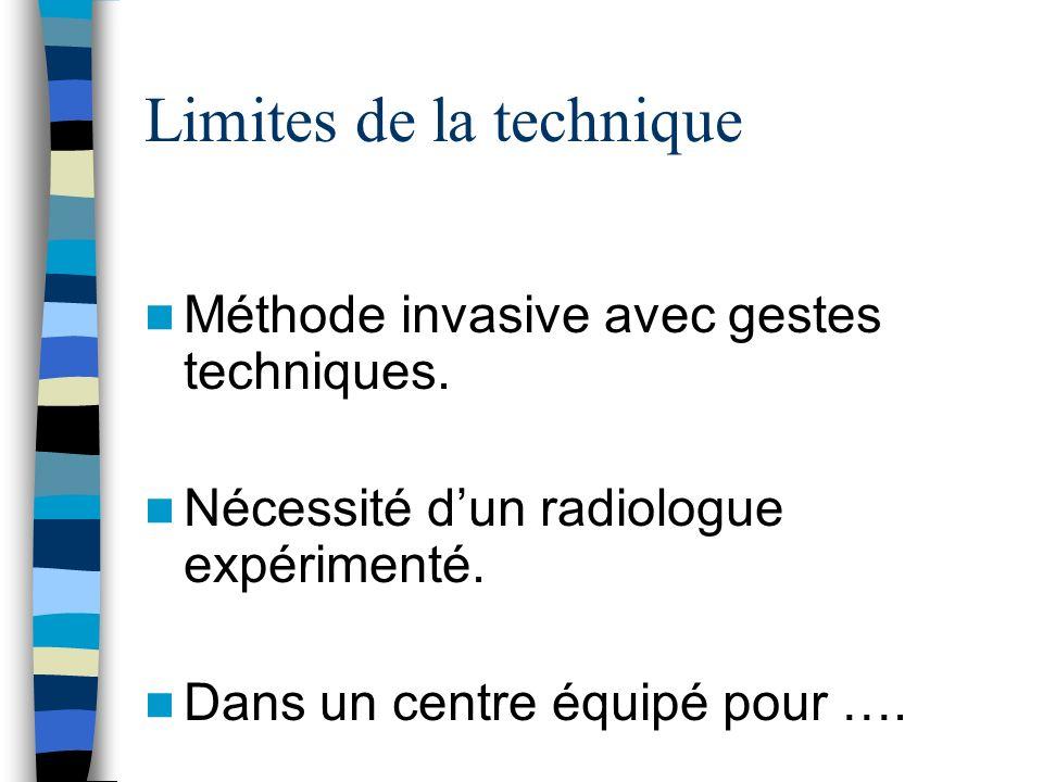 Limites de la technique Méthode invasive avec gestes techniques. Nécessité dun radiologue expérimenté. Dans un centre équipé pour ….