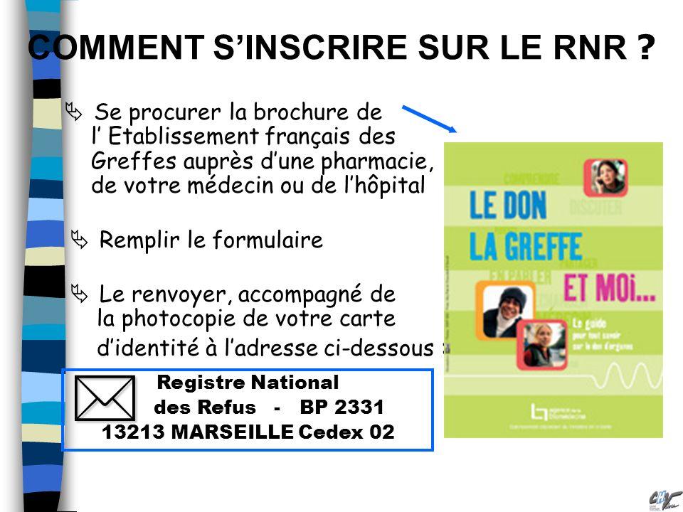 COMMENT SINSCRIRE SUR LE RNR ? Se procurer la brochure de l Etablissement français des Greffes auprès dune pharmacie, de votre médecin ou de lhôpital