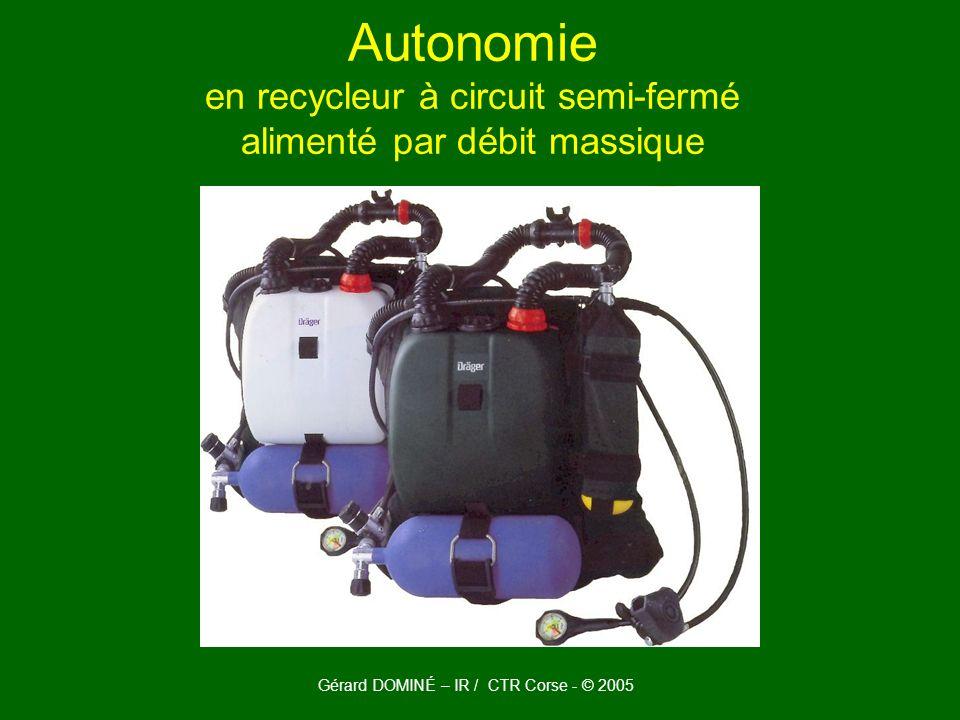 Autonomie en recycleur à circuit semi-fermé alimenté par débit massique Gérard DOMINÉ – IR / CTR Corse - © 2005