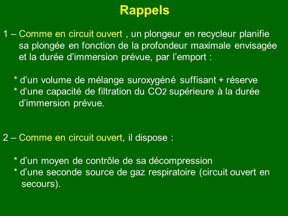 Rappels 1 – Comme en circuit ouvert, un plongeur en recycleur planifie sa plongée en fonction de la profondeur maximale envisagée et la durée dimmersi