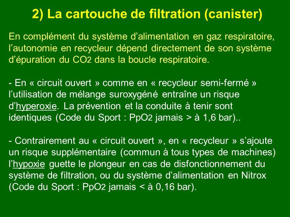 En complément du système dalimentation en gaz respiratoire, lautonomie en recycleur dépend directement de son système dépuration du CO 2 dans la boucl