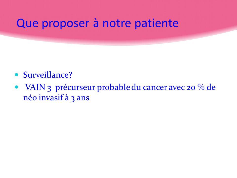 Que proposer à notre patiente Surveillance? VAIN 3 précurseur probable du cancer avec 20 % de néo invasif à 3 ans