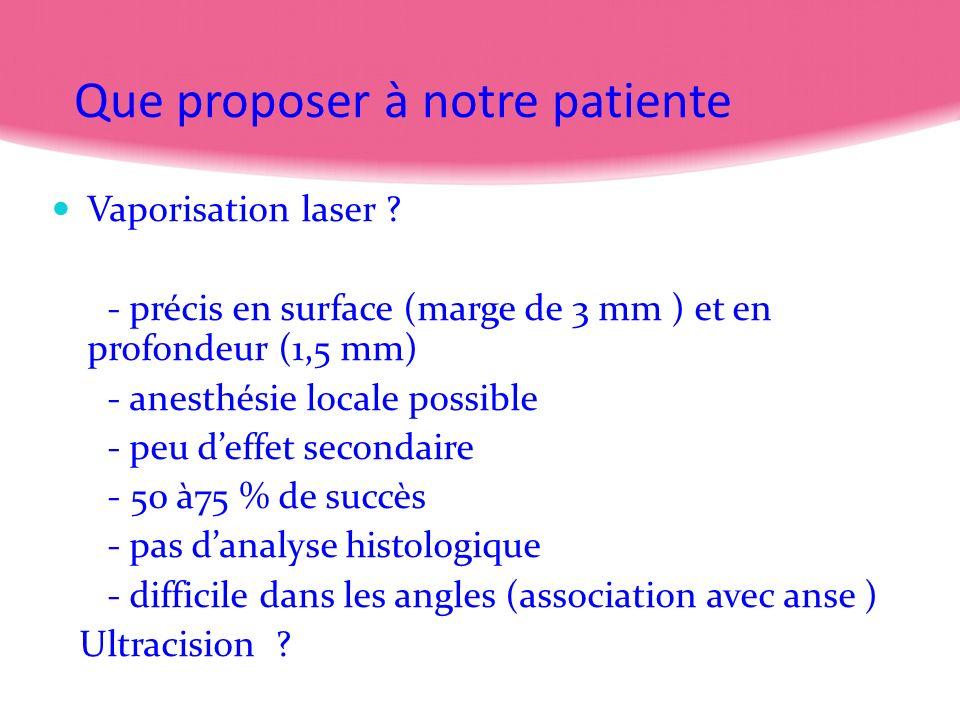 Que proposer à notre patiente Vaporisation laser ? - précis en surface (marge de 3 mm ) et en profondeur (1,5 mm) - anesthésie locale possible - peu d