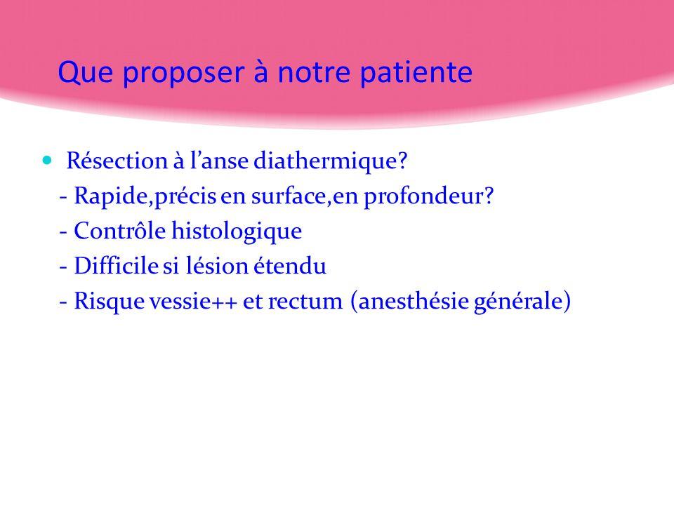 Que proposer à notre patiente Résection à lanse diathermique? - Rapide,précis en surface,en profondeur? - Contrôle histologique - Difficile si lésion