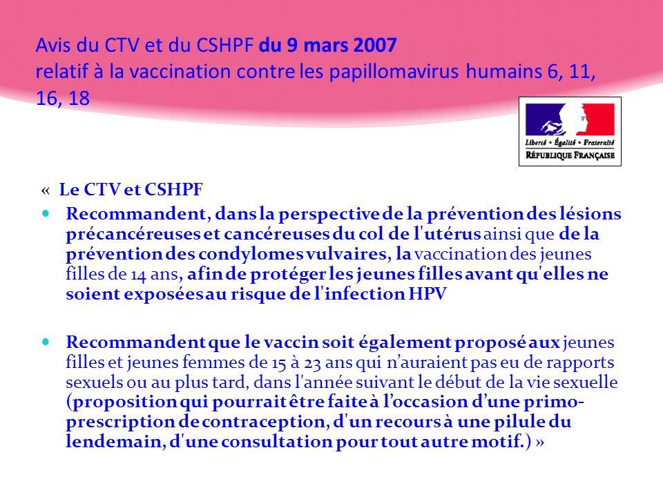 Avis du CTV et du CSHPF du 9 mars 2007 relatif à la vaccination contre les papillomavirus humains 6, 11, 16, 18 « Le CTV et CSHPF Recommandent, dans l