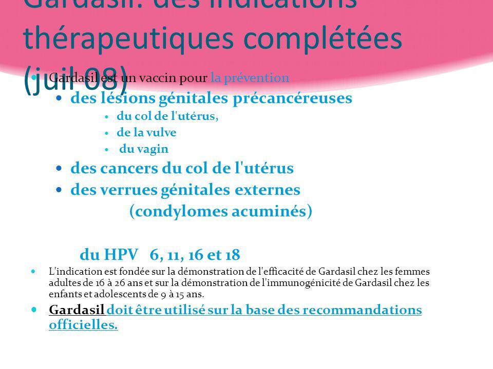 Gardasil: des indications thérapeutiques complétées (juil 08) Gardasil est un vaccin pour la prévention des lésions génitales précancéreuses du col de