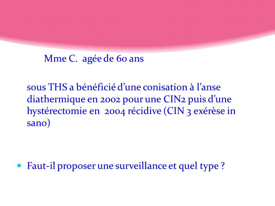 Mme C. agée de 60 ans sous THS a bénéficié dune conisation à lanse diathermique en 2002 pour une CIN2 puis dune hystérectomie en 2004 récidive (CIN 3