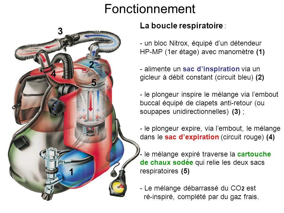 Fonctionnement La boucle respiratoire : - le mélange Nitrox étant déversé en continu dans le sac dinspiration, lexcèdent de gaz séchappe régulièrement par la soupape de surpression fixée sur le sac dexpiration (6) - par ailleurs, le système de stabilisation (direct-system) est alimenté par le seul bloc embarqué (donc du Nitrox), ce qui impose au plongeur un lestage parfait pour éviter de gaspiller son mélange respiratoire en utilisant exagérément le système de purge et dinflateur.