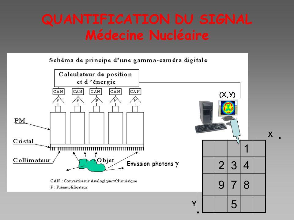 QUANTIFICATION DU SIGNAL Médecine Nucléaire (X,Y) 1 234 978 5 X Y Emission photons