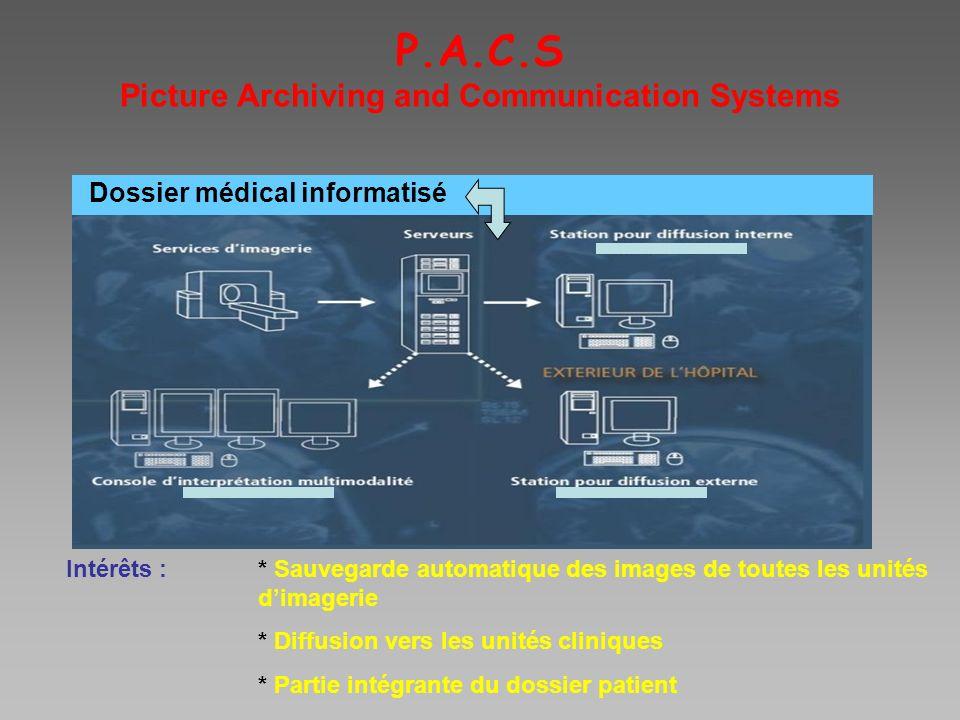 P.A.C.S Picture Archiving and Communication Systems Intérêts :* Sauvegarde automatique des images de toutes les unités dimagerie * Diffusion vers les