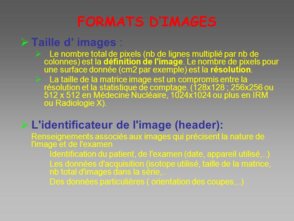 FORMATS DIMAGES Taille d images : Le nombre total de pixels (nb de lignes multiplié par nb de colonnes) est la définition de l'image. Le nombre de pix