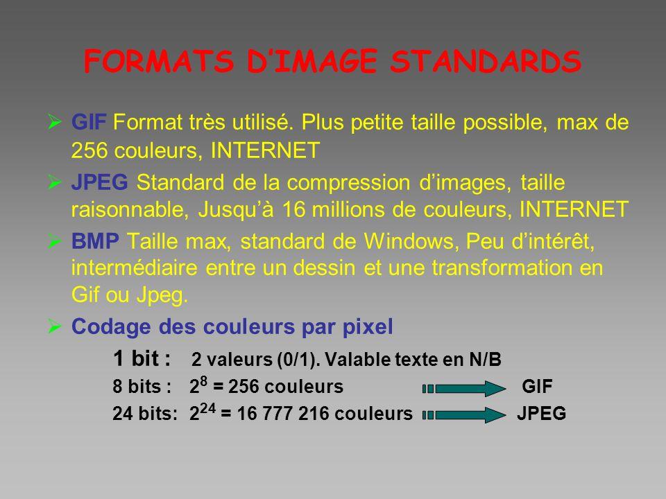 FORMATS DIMAGE STANDARDS GIFFormat très utilisé. Plus petite taille possible, max de 256 couleurs, INTERNET JPEG Standard de la compression dimages, t