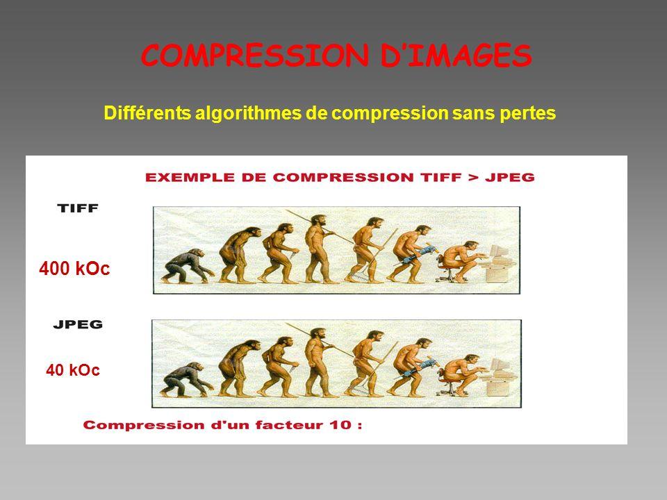 400 kOc 40 kOc COMPRESSION DIMAGES Différents algorithmes de compression sans pertes