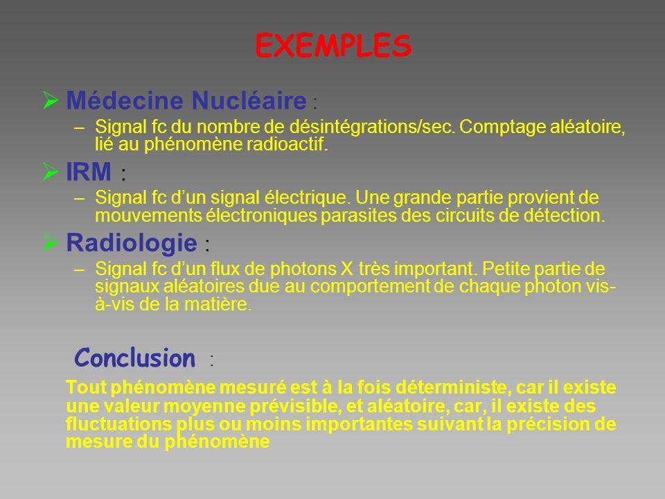 EXEMPLES Médecine Nucléaire : –Signal fc du nombre de désintégrations/sec. Comptage aléatoire, lié au phénomène radioactif. IRM : –Signal fc dun signa