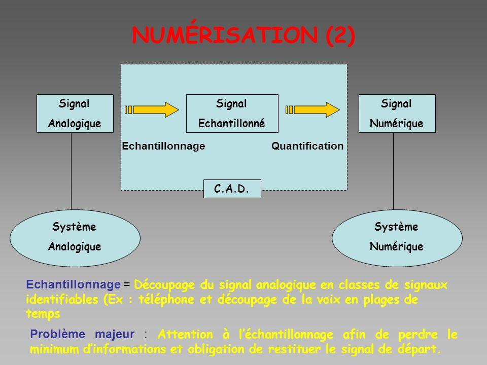 NUMÉRISATION (2) Signal Analogique Signal Numérique Signal Echantillonné Système Analogique Système Numérique C.A.D. EchantillonnageQuantification Ech