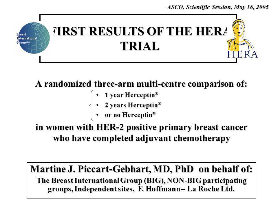 A randomized three-arm multi-centre comparison of: 1 year Herceptin ®1 year Herceptin ® 2 years Herceptin ®2 years Herceptin ® or no Herceptin ®or no