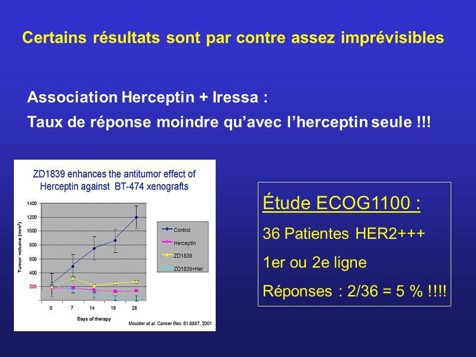 Certains résultats sont par contre assez imprévisibles Association Herceptin + Iressa : Taux de réponse moindre quavec lherceptin seule !!! Étude ECOG