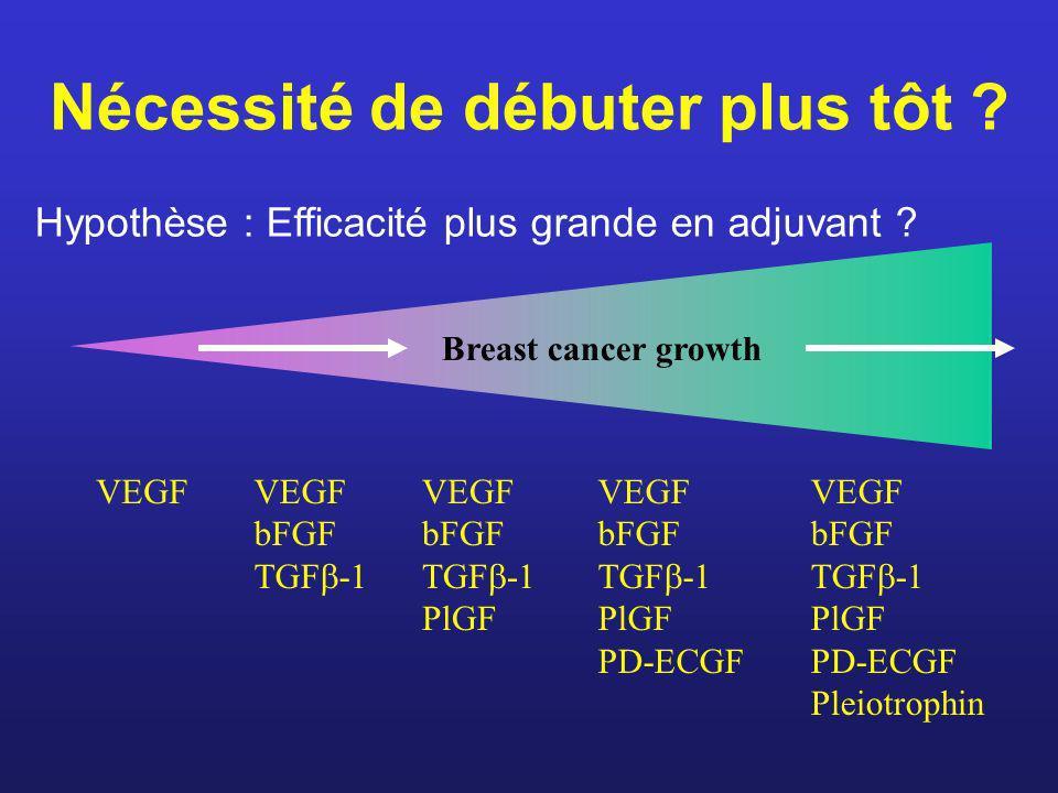 Nécessité de débuter plus tôt ? Hypothèse : Efficacité plus grande en adjuvant ? VEGF bFGF TGF -1 VEGF bFGF TGF -1 PlGF VEGF bFGF TGF -1 PlGF PD-ECGF