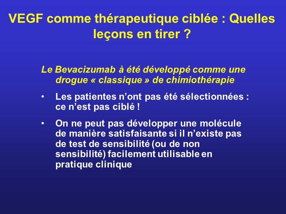 VEGF comme thérapeutique ciblée : Quelles leçons en tirer ? Le Bevacizumab à été développé comme une drogue « classique » de chimiothérapie Les patien