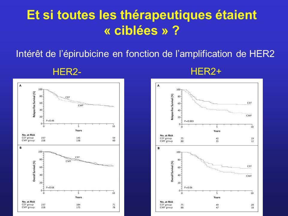 Et si toutes les thérapeutiques étaient « ciblées » ? Intérêt de lépirubicine en fonction de lamplification de HER2 HER2- HER2+