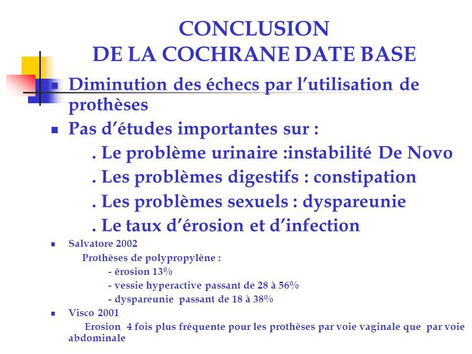 CONCLUSION DE LA COCHRANE DATE BASE Diminution des échecs par lutilisation de prothèses Pas détudes importantes sur :.