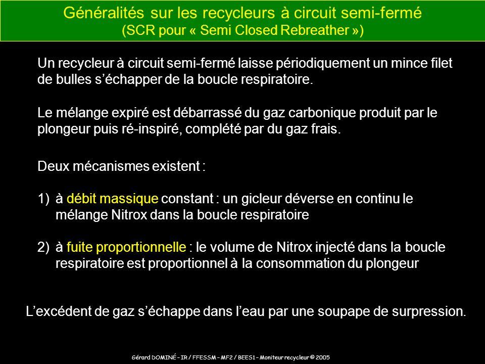 Nitrox 1) Un bloc Nitrox 2) équipé dun détendeur HP / MP (1er étage) avec manomètre 3) alimente en continu un sac inspiratoire 4) par lintermédiaire dun gicleur à débit constant 5) le mélange est inspiré (tuyau annelé) 6) par lembout buccal (avec valves unidirectionnelles) 7) puis expiré (tuyau annelé) vers un sac expiratoire 8) lexcédent de gaz séchappe par la soupape de surpression 9) les gaz traversent la cartouche de chaux sodée qui fixe le CO 2, 10) puis retournent dans le sac inspiratoire où ils sont mélangés avec du gaz frais Principe de fonctionnement dun recycleur semi-fermé alimenté au Nitrox par débit massique constant